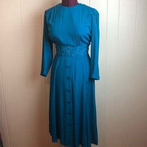 Vintage 70s/80s Teal Rockabilly Secretary Dress